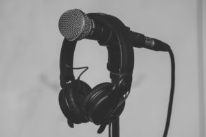 headphone hanging over a microphone