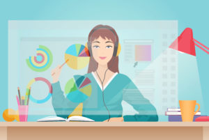 Young beautiful woman sitting opposite futuristic virtual screen with graph bars infographics elements interface. View from screen